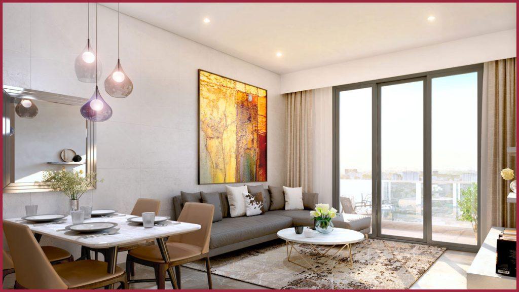 Phối cảnh căn hộ mẫu Aio City với không gian mở tạo cảm giác thư giãn và thoải mái cho cư dân